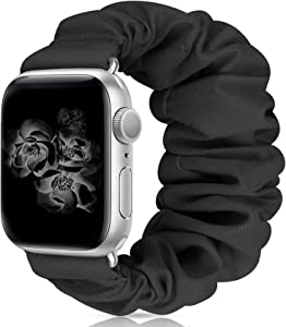 Scrunchie Watch Band Compatible with Apple Watch Band 38mm 40mm 42mm 44mm Apple Watch Series 5 Band Soft Replacement Elastic Wristband Compatible for iWatch Series 5 4 3 2 1 (Black 38mm 40mm S)