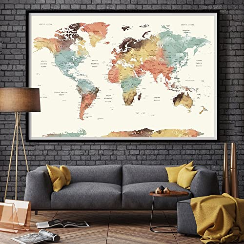 Amazoncom World Map Wall Art World Map Push Pin Large Watercolor