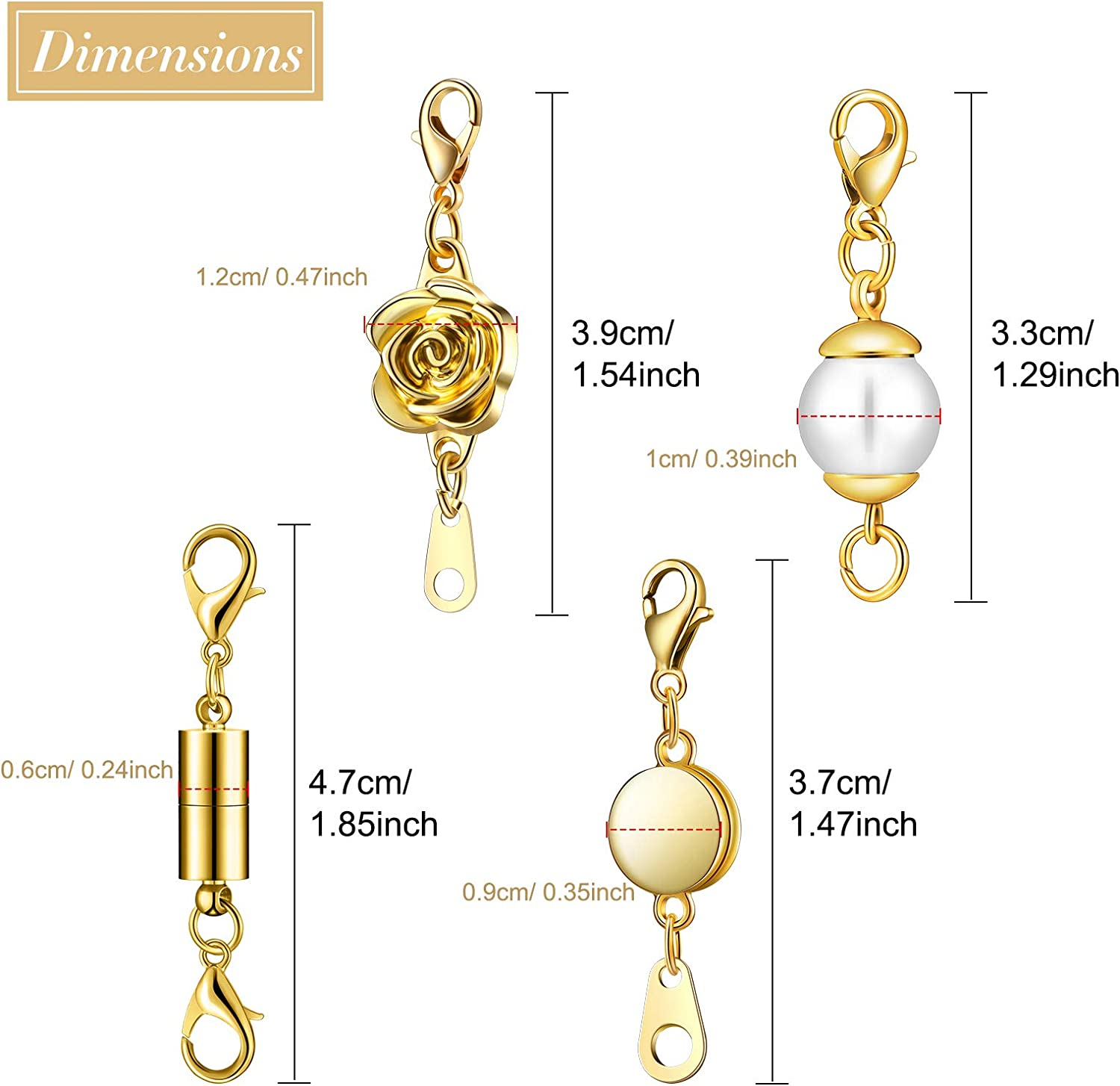 Silver and Gold 16 Pieces Magnetic Jewelry Clasps Magnetic Lobster Clasp Necklace Clasp Closures Bracelet Extender Round Artificial Pearl Locking Clasp Rose Screw-in System Lobster Clasp for Jewelry