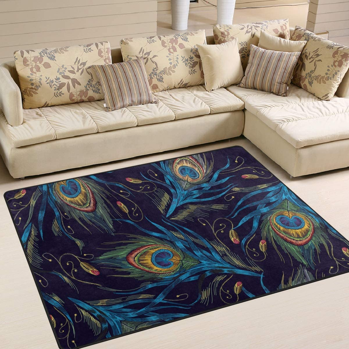 ALAZA Fashion Peacock Feather Artwork Area Rug Rugs for Living Room Bedroom 5 3 x4