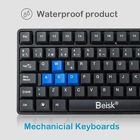 BEISK Pack Teclado más Ratón con Cables USB Español, sensibilidad mecánica para PC, Mac, Windows, etc. Negro