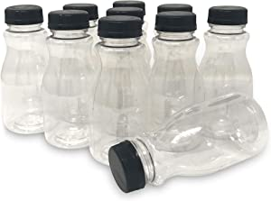 CSBD 8oz Plastic Juice Bottles with Tamper Evident Lids, 10 Pack, Food Grade Safe PET with No BPA, Apple, Kombucha, Tea, Cold Brew or Milk Bulk Containers, Reusable