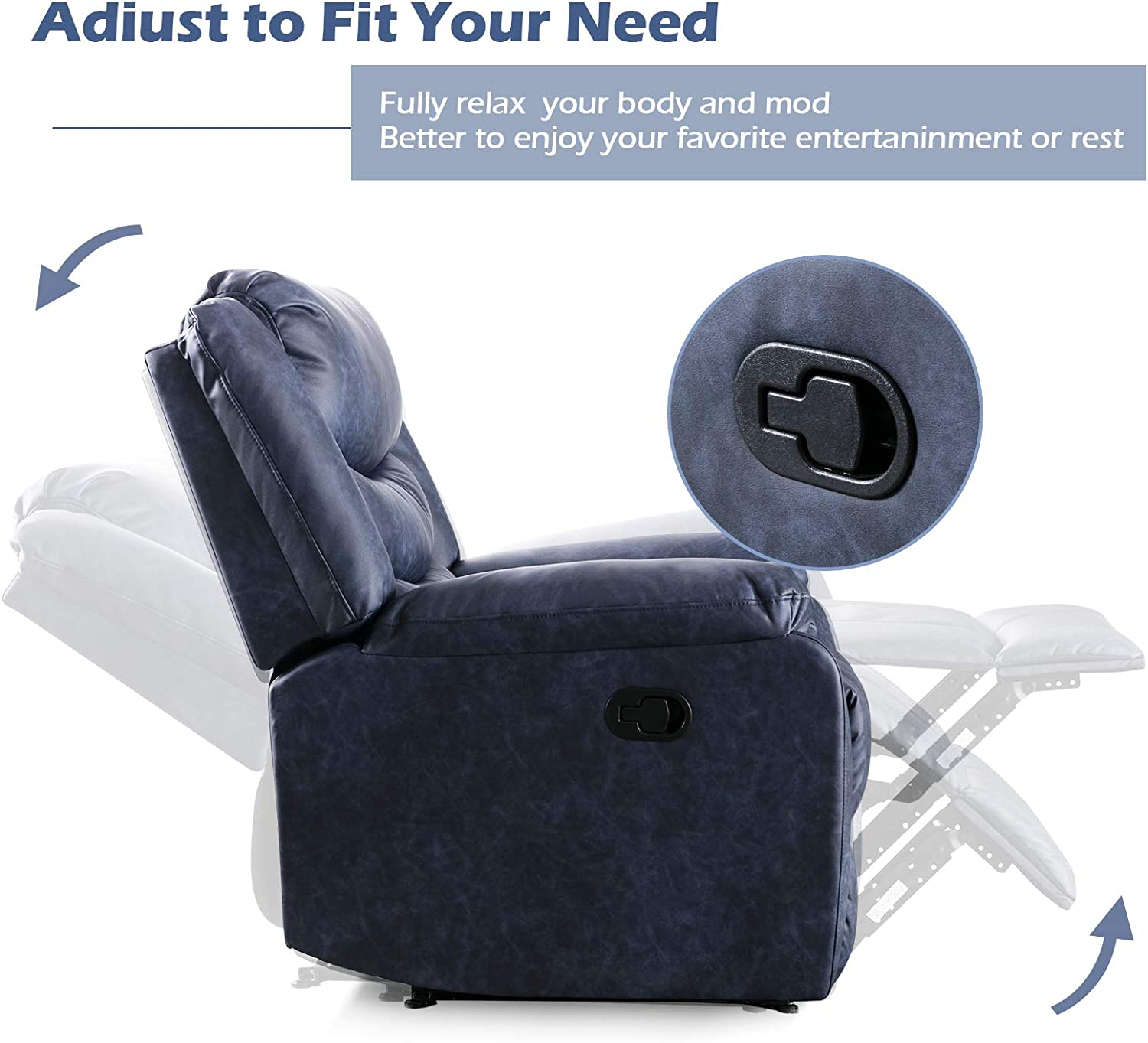 ANJ Recliner Chair with Overstuffed Arm and Back, Breathable Bonded Leather Classic Recliner Single Sofa Home Theater Seating (Navy)