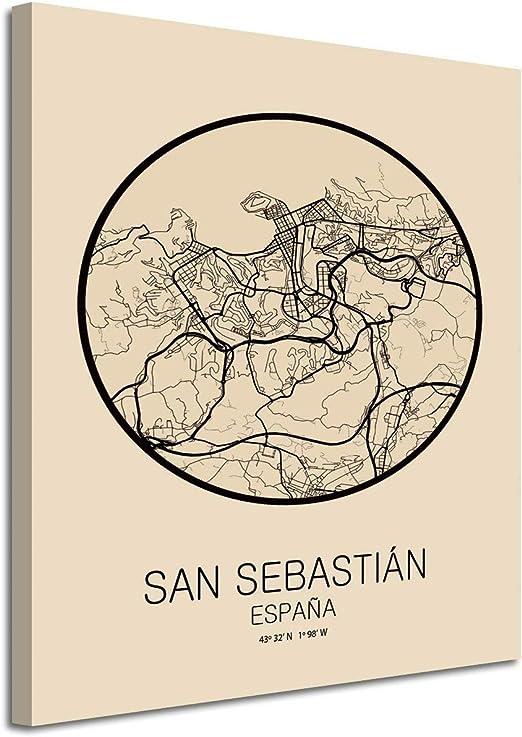 Foto Canvas Cuadro Mapa San Sebastián España en Lienzo Canvas ...