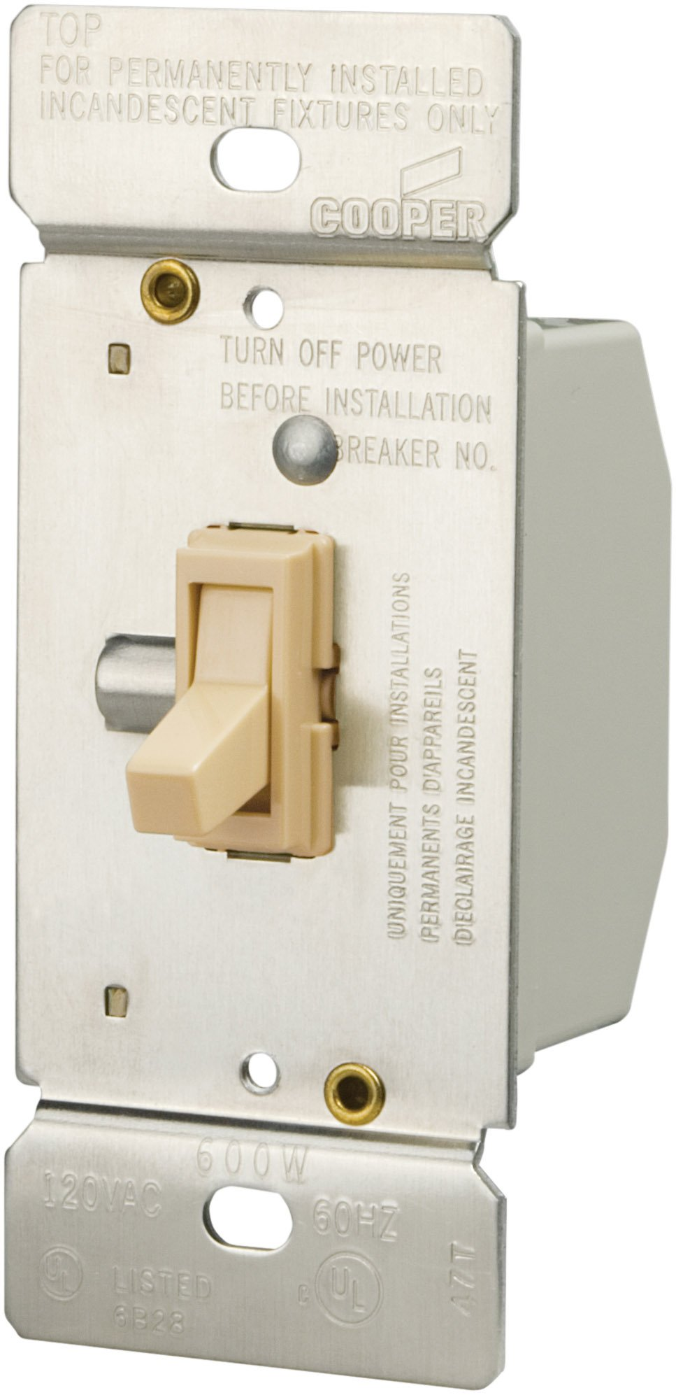 Eaton TI306-V-K 600-Watt 120-Volt Single-Pole/3-way Lighted Incandescent/Halogen Toggle Dimmer with Non-Preset ,Ivory