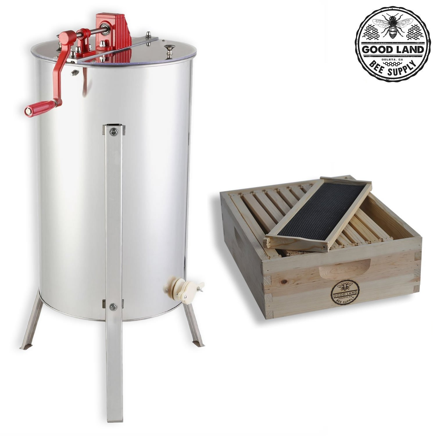 Goodland Bee Supply 2 Frame Honey Extractor and 1 Complete Honey Super Free Spacer Included - GL-E2-1SK-SPCR