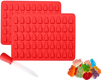 Gummy Bear Silicone Chocolate Molds and Candy Making Molds 2 Pack Plus  Bonus Dropper for easy filling Make 100 Gummy Bears on Trays BPA Free,  Freezer,