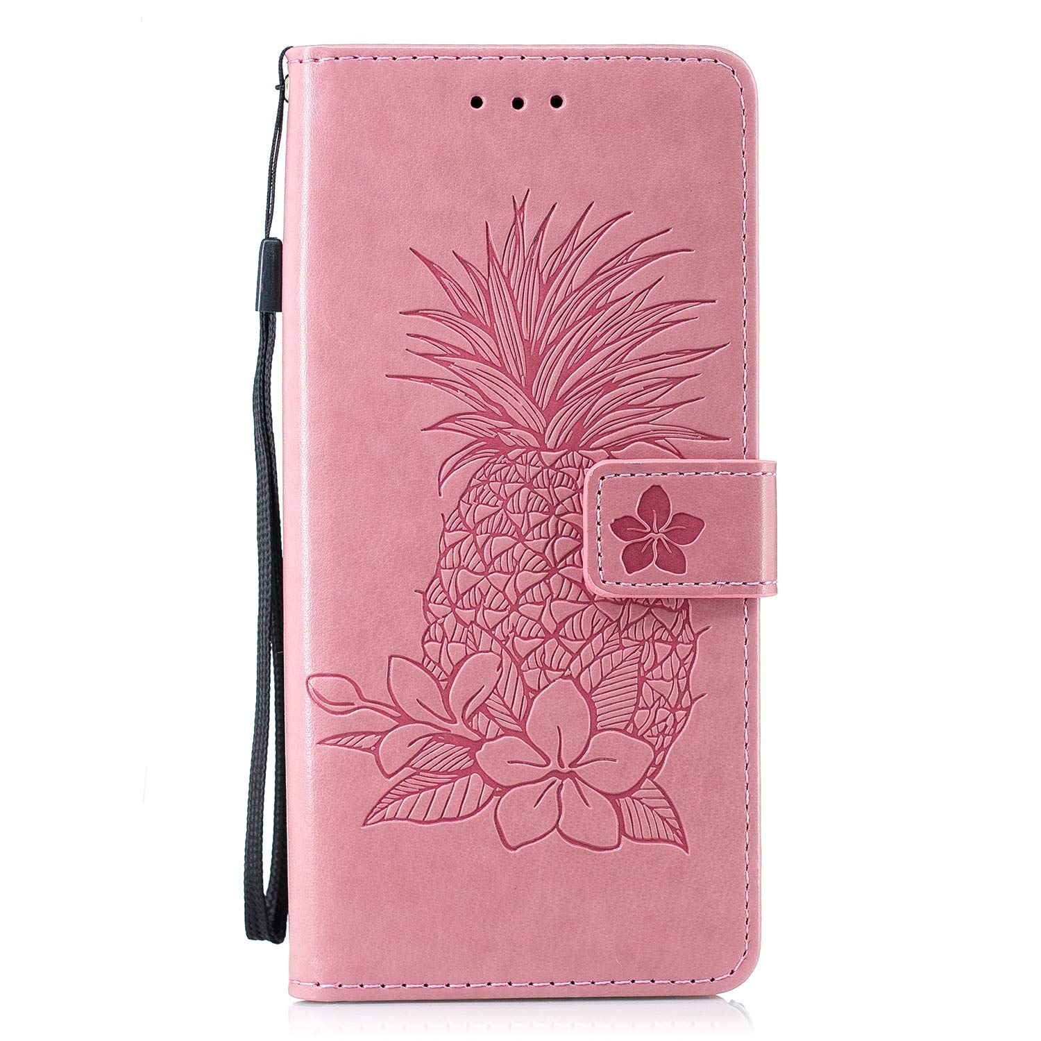 Samsung Galaxy Note 9 Case, AIIYG DS 3D Pattern [Kickstand Feature] Flip Folio Leather Wallet Case with ID and Credit Card Pockets for Galaxy Note 9 (Pink Pineapple) by AIIYG DS (Image #1)