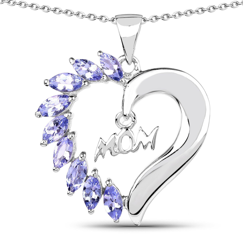 1.13 Carat Genuine Tanzanite Solid .925 Sterling Silver Heart Pendant