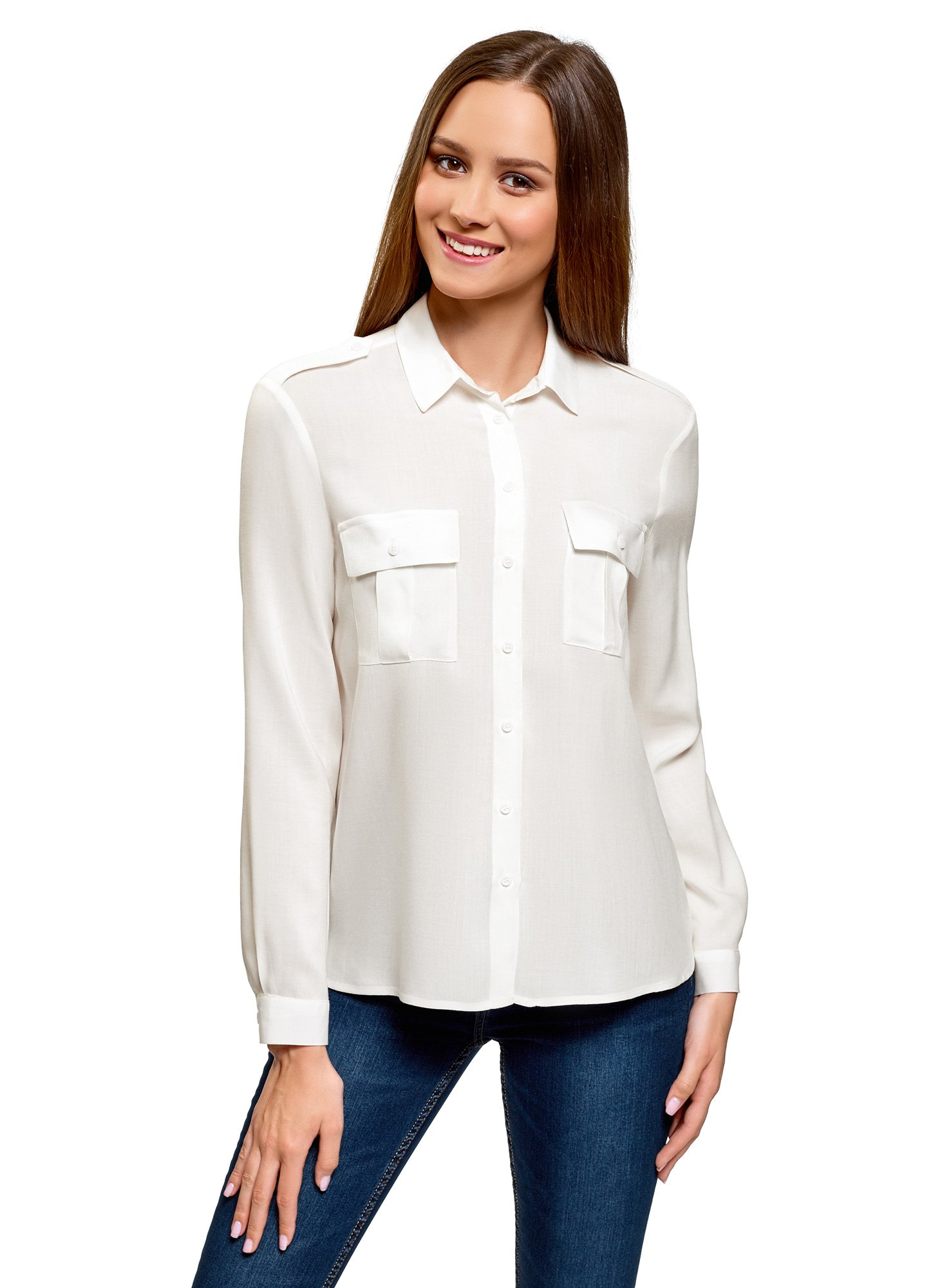 oodji Ultra Mujer Blusa Básica de Viscosa con Bolsillos en el Pecho product image