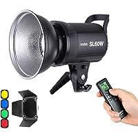 Godox SL-60W 60W CRI95+ Qa>90 5600±300K Bowens Mount Led Continuous Video Light with BD-04 Barn Door,Wirelessly Adjust…