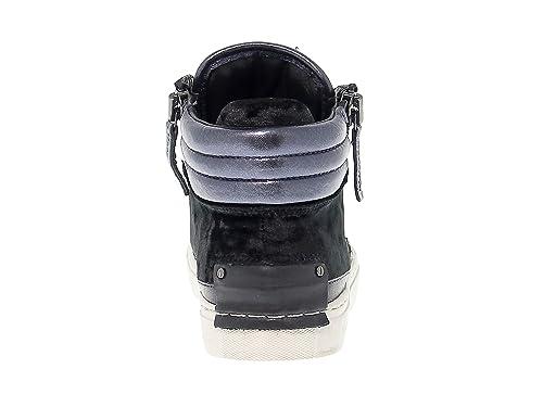 Damen 25325A1720 Blau/Schwarz Leder Hi Top Sneakers Crime London arYSbLfKQ