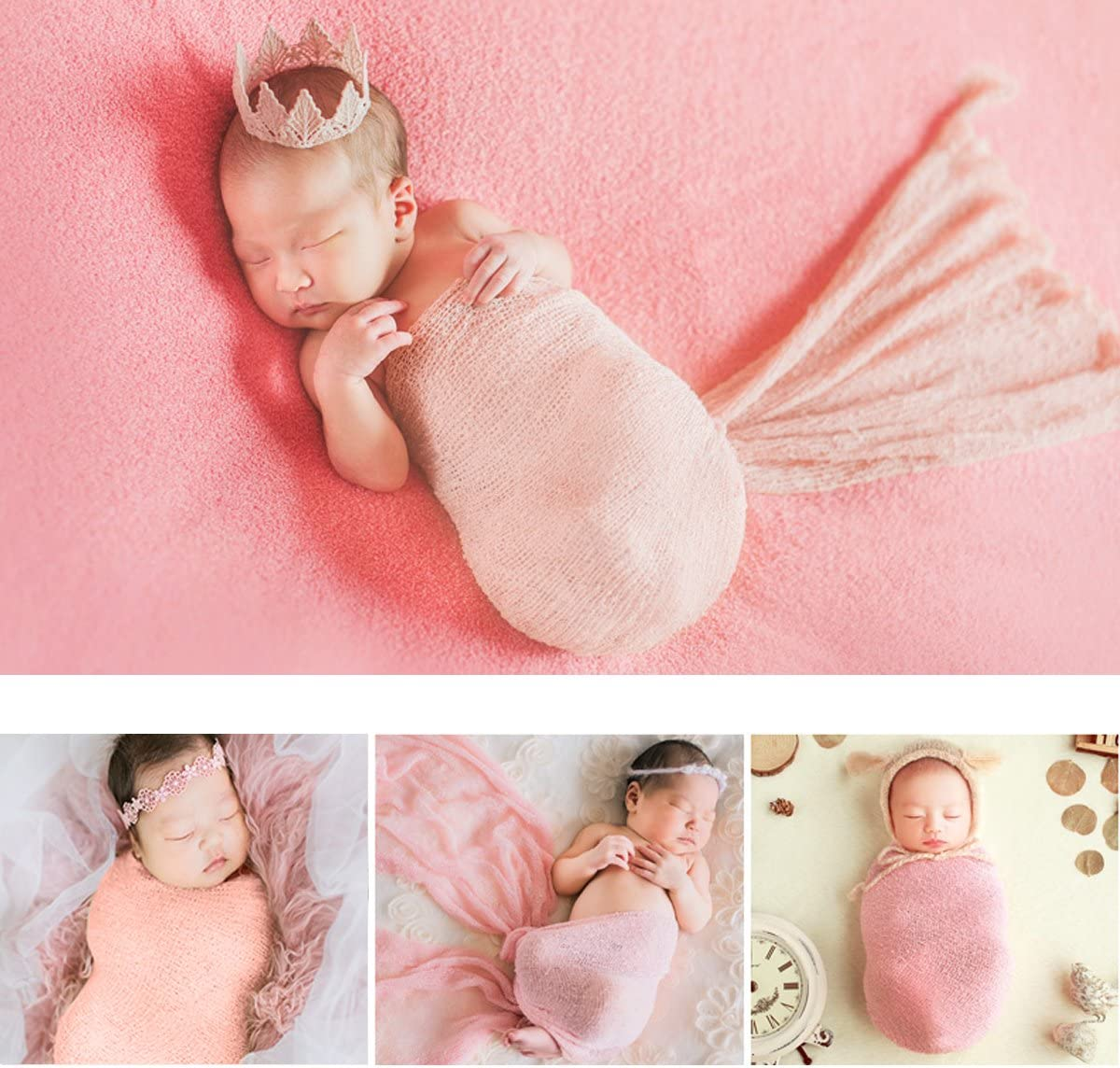 /Pack of 3/Baby Photo Props Favors Snow Zahnfarbenen Beige + Purple OULII Long Ripple Wrap DIY Newborn Baby Boy Girl Photography Wrap/
