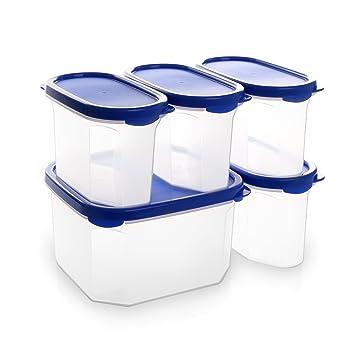 bino 10 piece airtight stackable kitchen storage container pantry set blue. beautiful ideas. Home Design Ideas