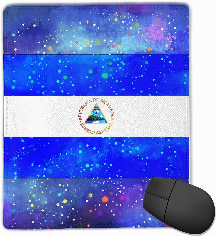 Alfombrilla de ratón Bandera de Nicaragua Bandera Estrellada Juego Alfombrilla de ratón Alfombrilla de ratón Diseño Personalizado Antideslizante 25 x 30 x 0.3 CM
