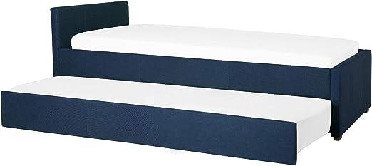 Beliani Cama Nido con somier Azul Oscuro 90x200 cm MARMANDE ...