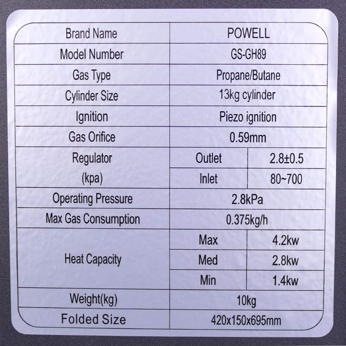 Powell Estufa de Gas butano o propano, con Ruedas y Sistema antivuelco de 4,2 Kw: Amazon.es: Hogar