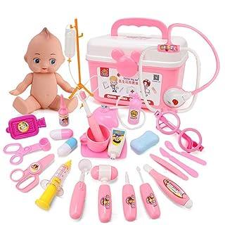Lommer 26pz Kit Medico Juguetes Medico Bambini Valigia Medico Giocattolo Valigetta da Dottore Giochi Dimitazione per Bambini 3 Anni (Blu)