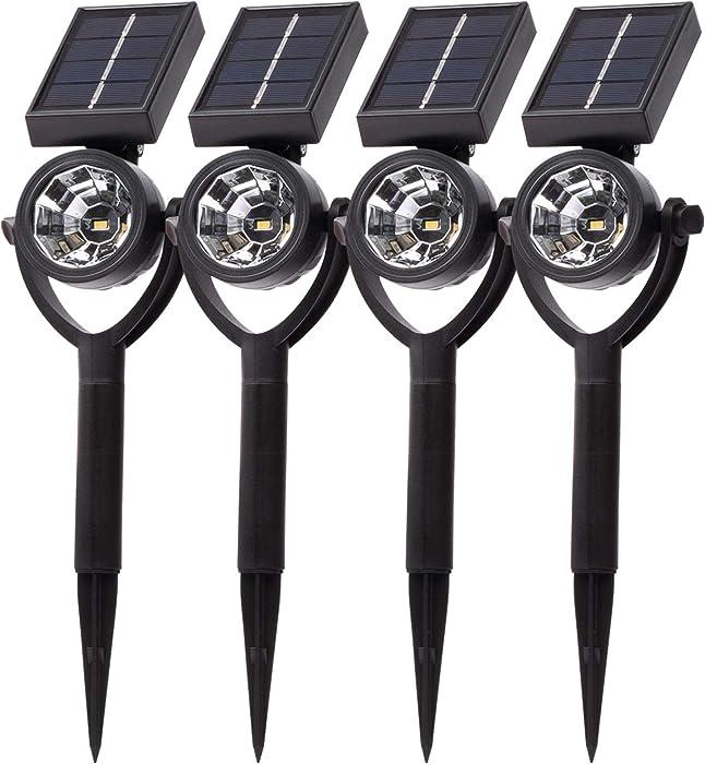 Brightology Solarscape Solar Spotlight (1-Pack) Outdoor Lights for Garden, Landscape, Patio & Pathway l White LED, IP44 Weatherproof, Adjustable Panel