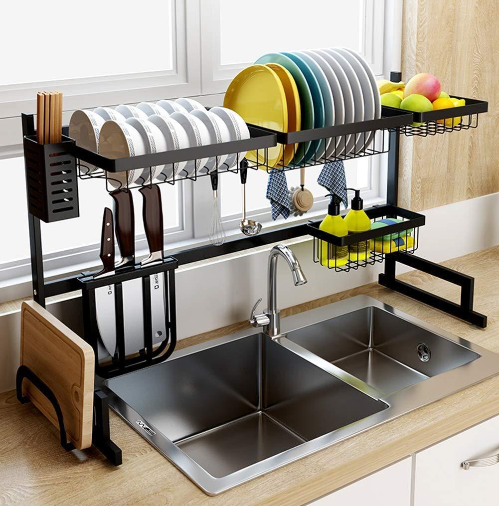 amazon com xue shelf dish drainer rack holder black stainless rh amazon com over the sink kitchen shelves tall over the kitchen sink shelf