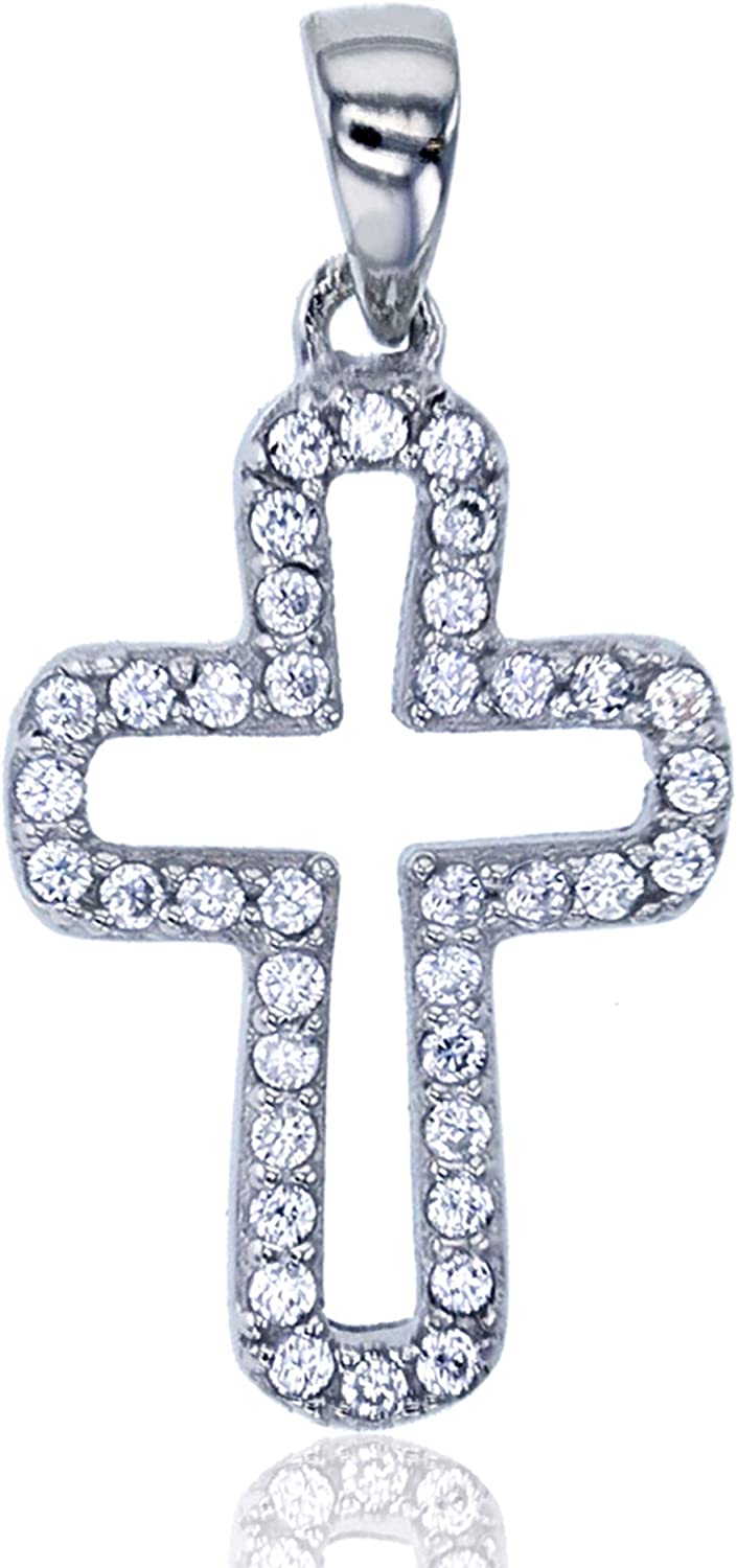 Decadence Sterling Silver Rhodium Pave Open Cross Dangling Pendant