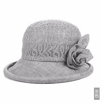 QIER-MZ Gorra De Mujer Primavera Otoño Gorro De Mediana Edad Gorro De Pescador  Sombrero De Fisher Gorra De Excursión Sombrero De Playa Visera Gris  ... eb1808447f7