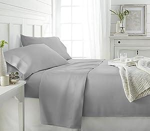 ienjoy Home Bamboo 4 Piece Sheet Set, Queen, Light Gray