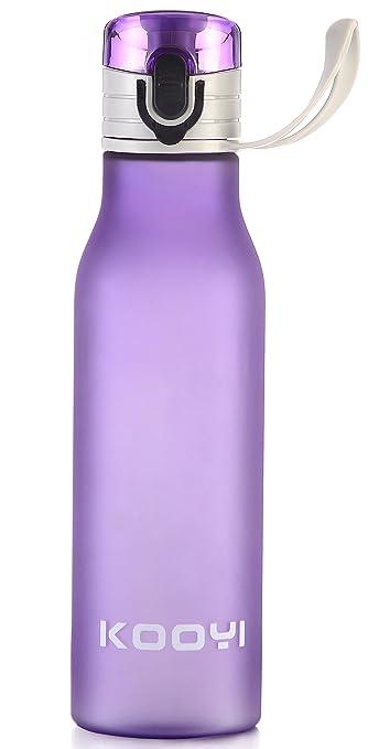 Kooyi Plástico Botella de Agua de deporte 550 ml, Portátil 1-Click Apertura, libre de BPA (púrpura): Amazon.es: Deportes y aire libre