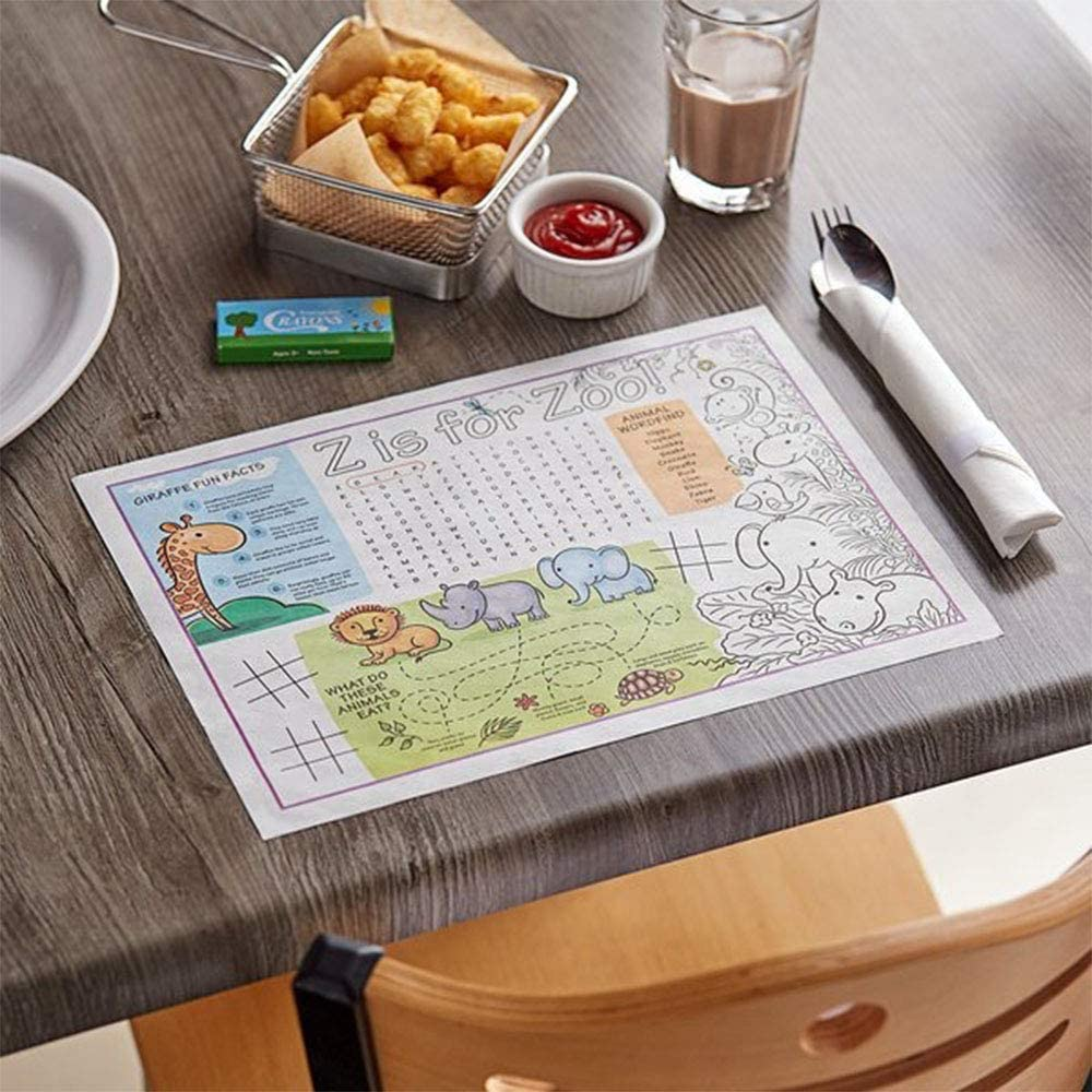 Kids Zoo Table Mats Great for Parties and Decorations 10x14 Kids Zoo Kids Zoo Disposable Paper Placemats 50ct