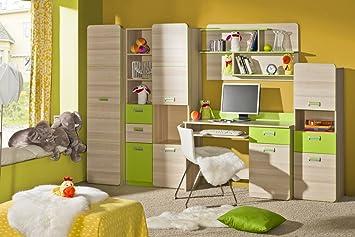Jugendzimmer Komplett Set B Dennis 5 Teilig Farbe Esche Grün