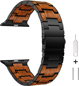 AWMES Compatible for Apple Watch Band 42mm 44mm, Natural Wood Red Sandalwood Stainless Steel Metal Strap Replacement Band for iWatch Bands Compatible for Apple Watch Series 6/5/4/3/2/1 (Black)