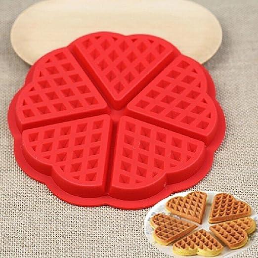 Kompanion Molde de Silicona para Waffle – 2 Piezas – GofreraCorazón y Rectángulo Belga – Anti Adherente – Bandeja para Hornear Waffles Gofres – Mini ...