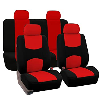 Swell Fh Group Universal Fit Full Set Flat Cloth Fabric Car Seat Cover Red Black Fh Fb050114 Fit Most Car Truck Suv Or Van Forskolin Free Trial Chair Design Images Forskolin Free Trialorg