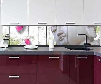 Küchenrückwand Holz Blüten Buddha Nischenrückwand ...