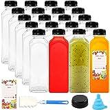 SUPERLELE 16oz 20pcs Empty PET Plastic Juice Bottles Reusable Clear Disposable Containers with Black Tamper Evident Caps…