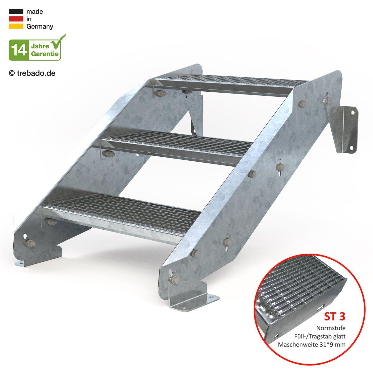 Gitterroststufe ST1 feuerverzinkte Stahltreppe mit 600 mm Stufenl/änge als montagefertiger Bausatz Au/ßentreppe 3 Stufen 60 cm Laufbreite ohne Gel/änder Anstellh/öhe variabel von 42 cm bis 64 cm