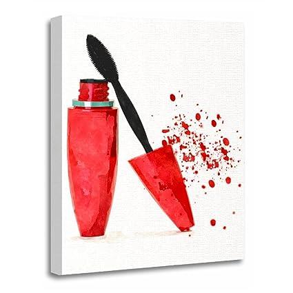 "TORASS Canvas Wall Art Print Girly Makeup Mascara Beauty Stylish Glamour Artwork for Home Decor 12"""