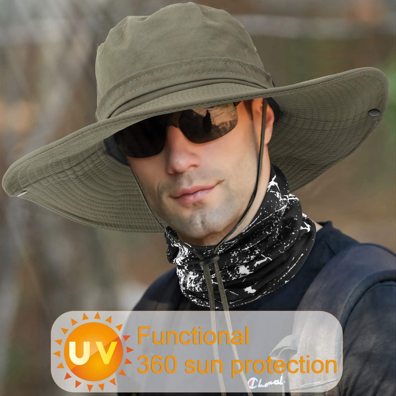 Protection UV D/ét/é Chapeau de Randonn/ée avec Protection du Cou Bandana Camping Randonn/ée P/édestre Voyage Seau Chapeau Soleil pour Hommes Femmes TAGVO Chapeaux de P/êche /à Large Bord