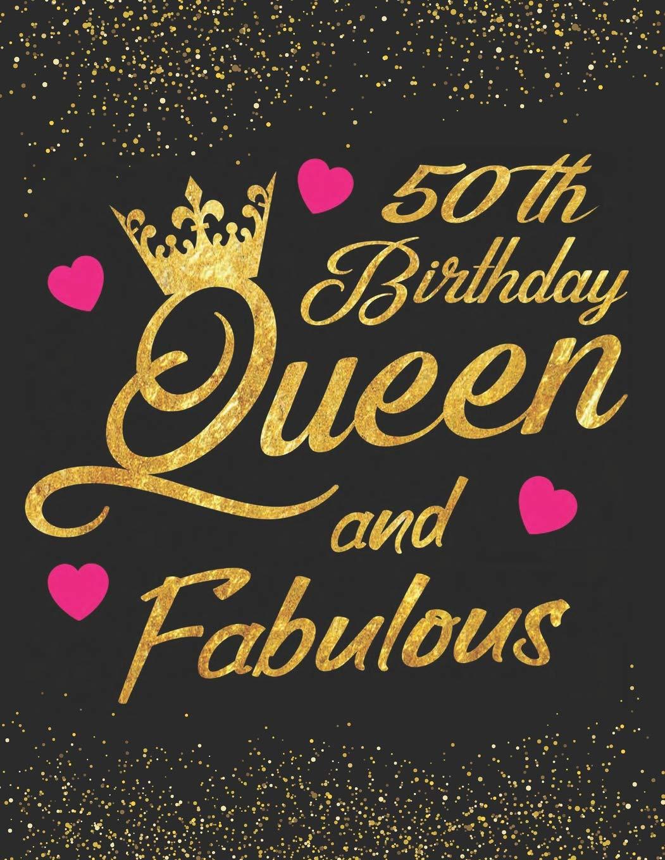 50th Birthday Queen And Fabulous Keepsake Journal Dot Grid Notebook