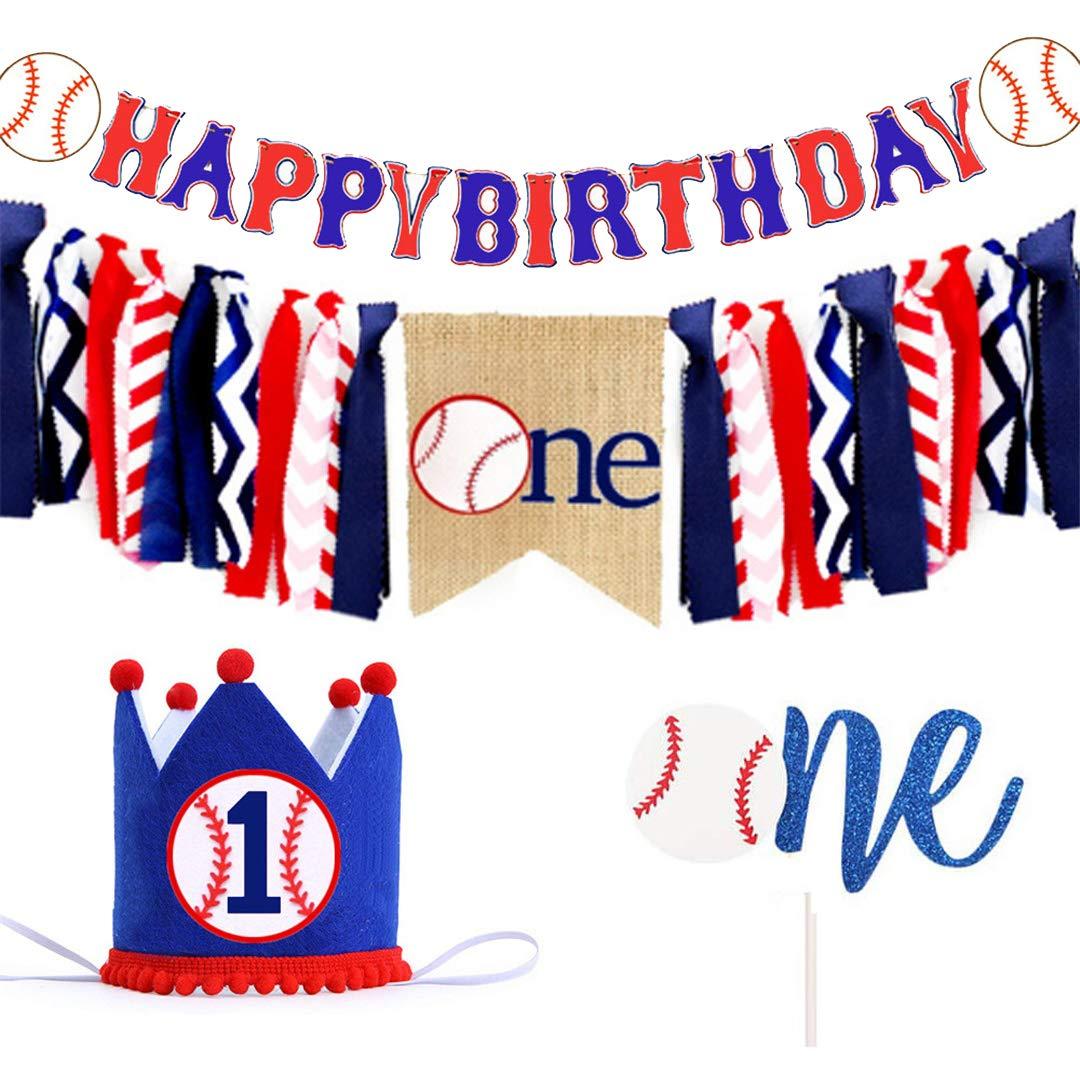 Baseball Happy Birthday Banner | Baseball Highchair Banner - Baseball Cake Topper - Baseball Birthday Crown - Baseball Theme Handmade 1st First Birthday Banner for Baby Shower Party Supplies