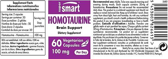 Supersmart MrSmart - Neuronutrición - Homotaurina - Ralentiza el deterioro del cerebro y de la función cognitiva. 50 mg, 60 cápsulas.