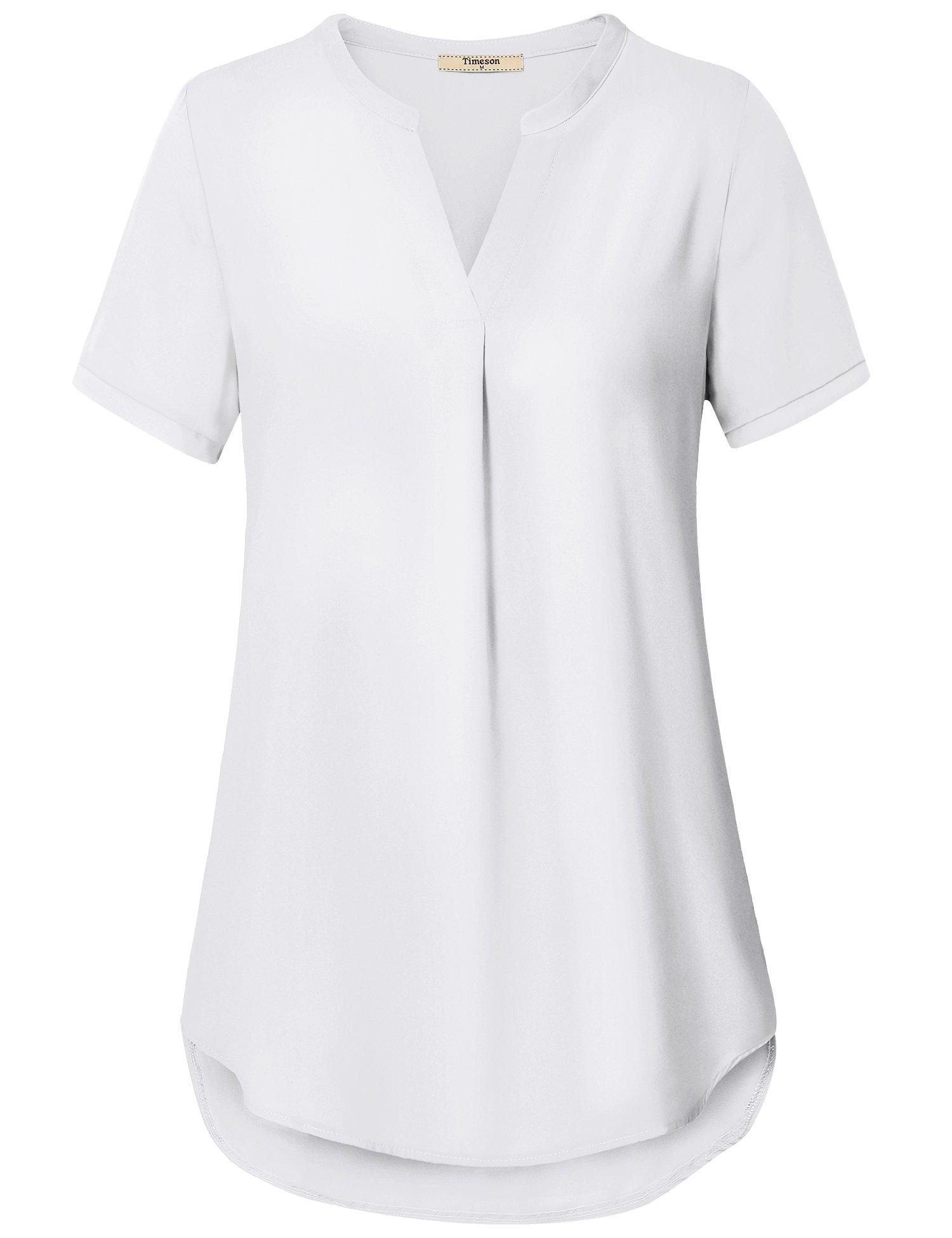 Timeson Womens Blouses Tops Work, Women's V Neck Short Sleeve Casual Chiffon Henley Tunic Blouses Tops White Medium