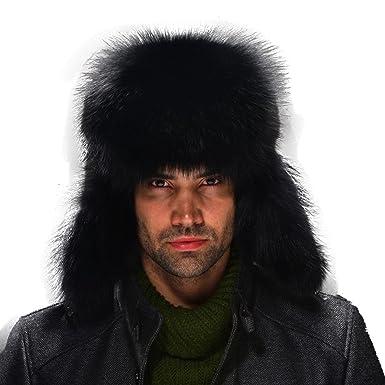 680f5fe02 URSFUR Silver Fox Fur & Leather Russian Ushanka Hat