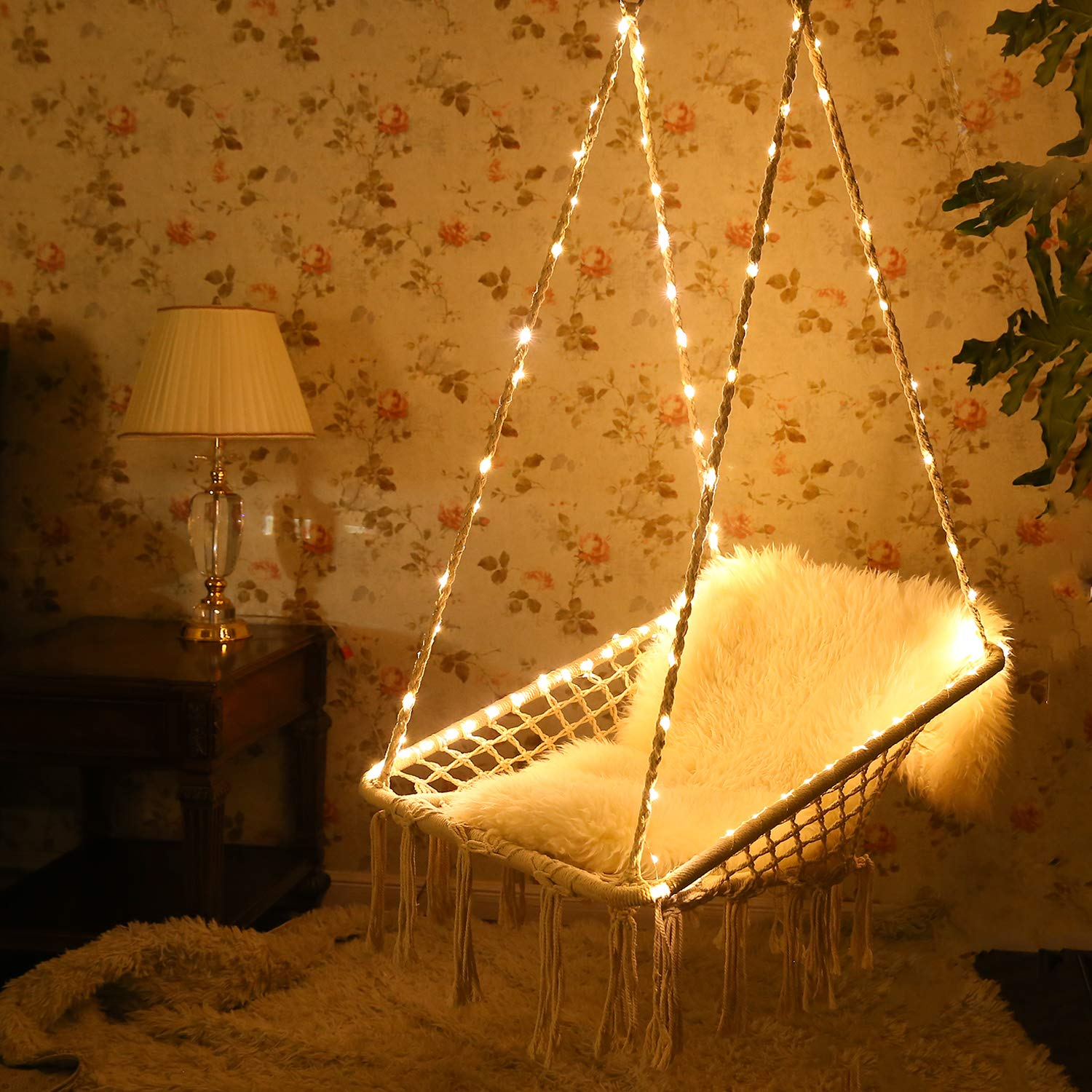 KINDEN Hammock Chair with Lights – Cotton Square Shape for Patio Bedroom Balcony