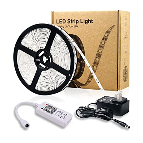 Smart Bluetooth LED Strip Lights Kit, 16.4ft 5050 150 LED RGBW Strip Lights Kit for Home and Party, Bluetooth Controller with APP for iOS and Android System ...