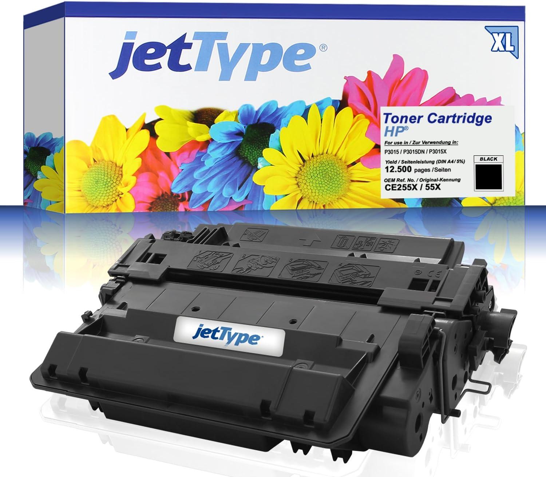 Jettype Toner Ersetzt Hp Ce255x 55x Für Laserjet P3015 P3015dn P3015x Laserjet Enterprise P3015dn Laserjet Pro M521dn Schwarz 12 500 Seiten Bürobedarf Schreibwaren