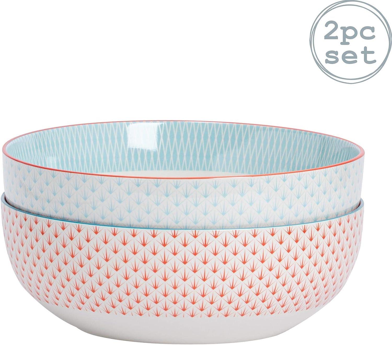 Nicola Spring Cuenco de cerámica para Fruta y Ensalada - Estampado geométrico - 1 Azul Claro / 1 Coral/Naranja - 284mm - Pack de 2