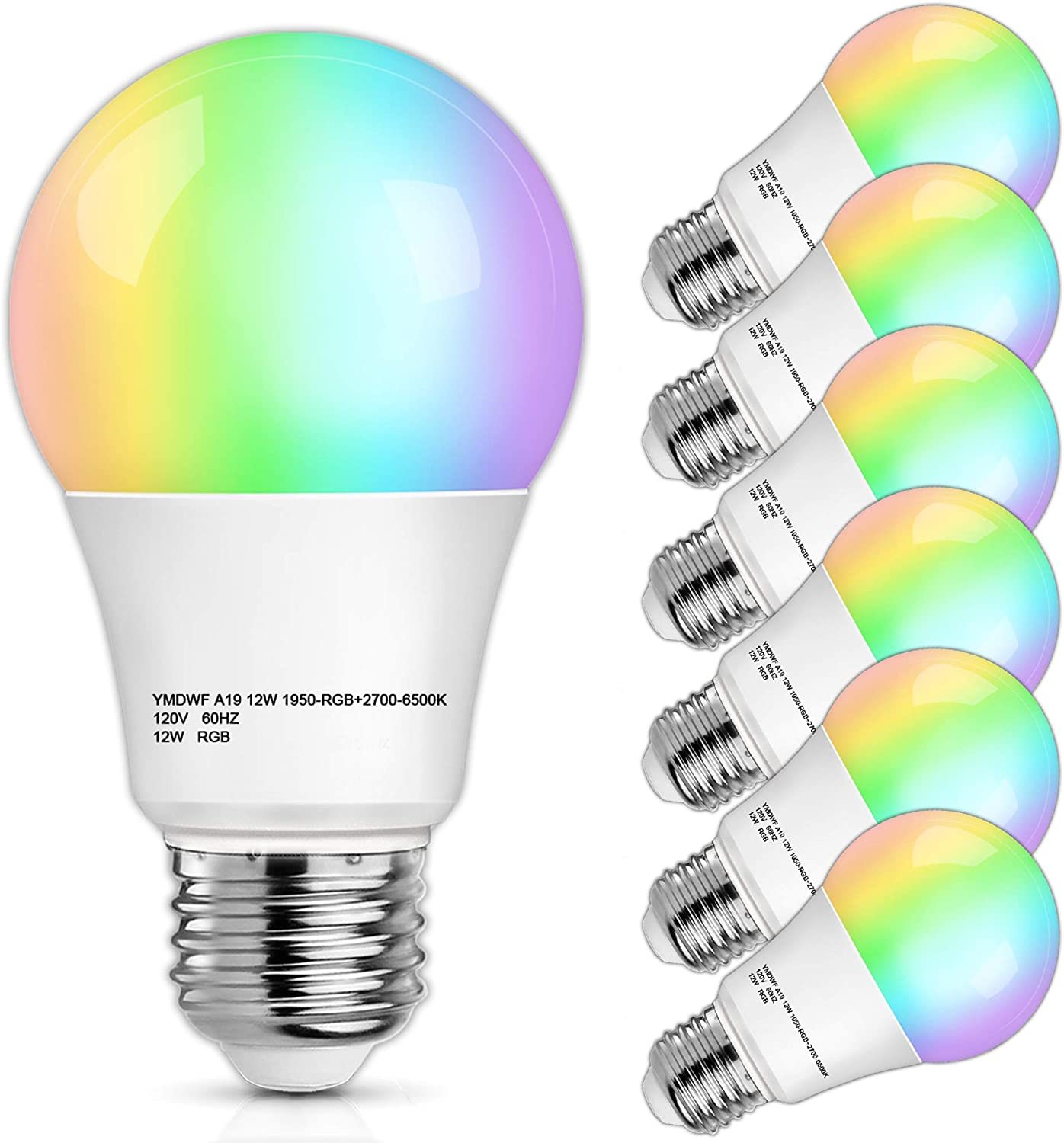Smart WiFi Light Bulb, 12W A19 LED RGB Bulbs 100 Watt Equivalent, Dimmable E26 Bulb 1100Lumens, 2700K-6500K, 2.4GHz, Compatible with Alexa, Google Home Assistant, Echo, Siri, No Hub Required, 6-Pack