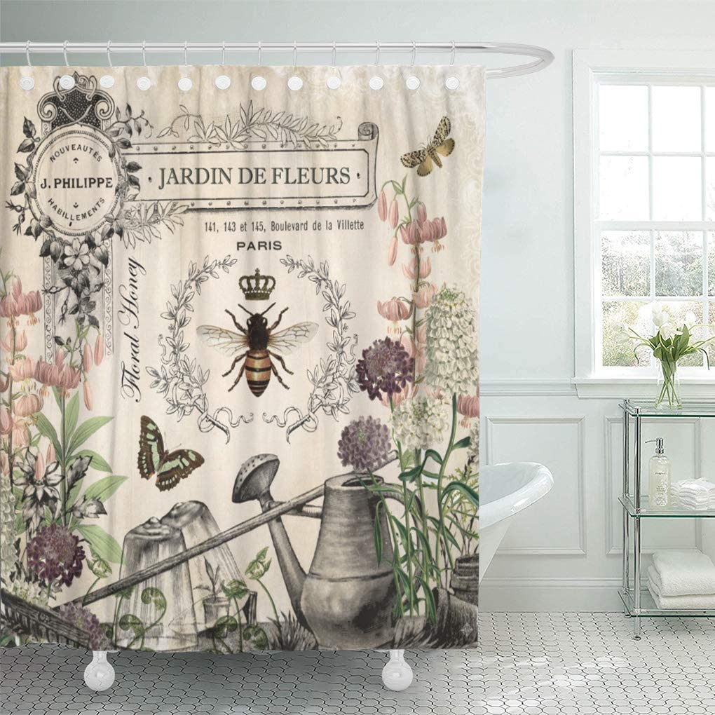 "Semtomn Shower Curtain Modern French Bee Garden Vintage Queen Floral Watering Can 72""x72"" Home Decor Waterproof Bath Bathroom Curtains Set with Hooks"
