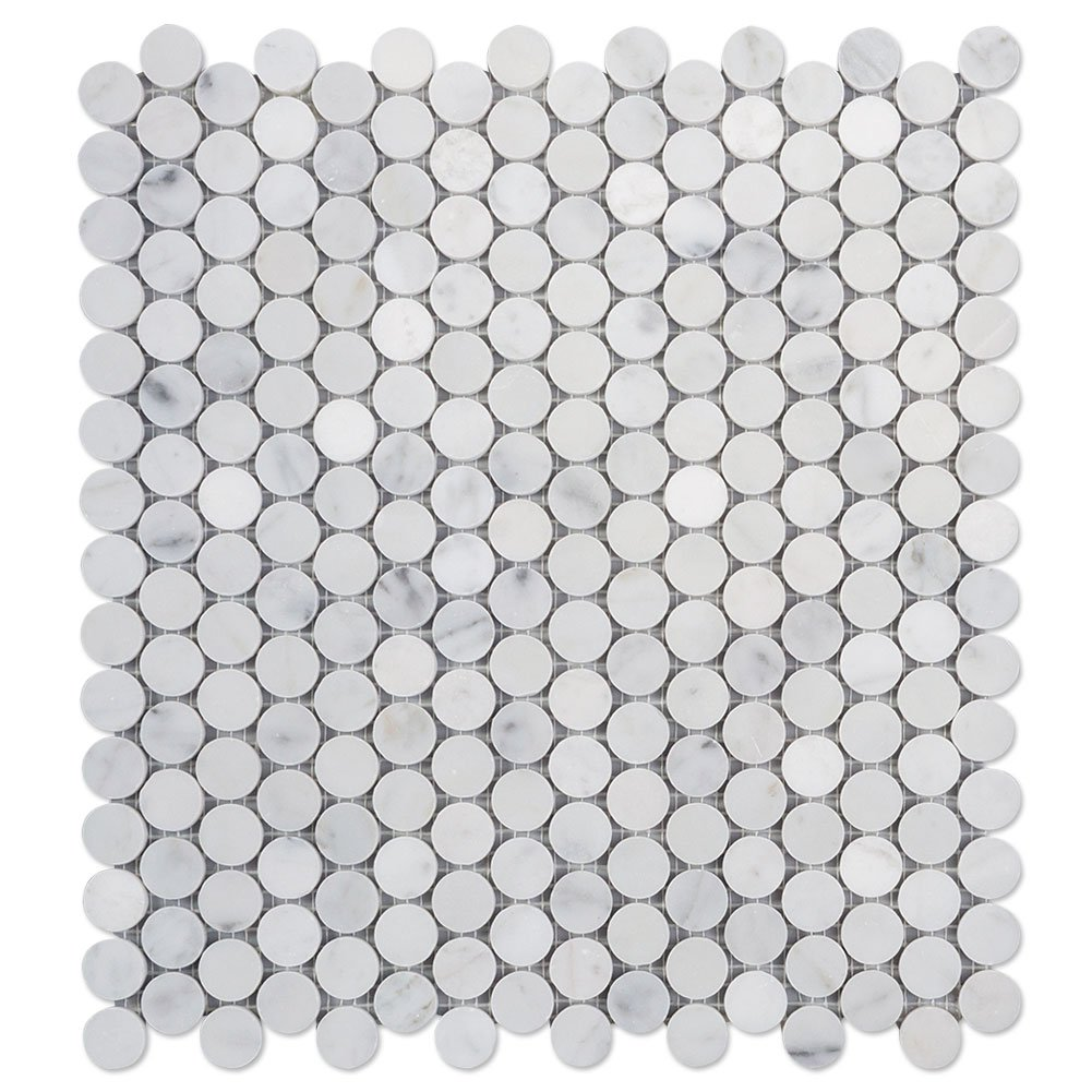 Diflart Italian White Carrara Marble Mosaic Tile Polished, 5 Sheets/Box (3/4'' Penny Round)